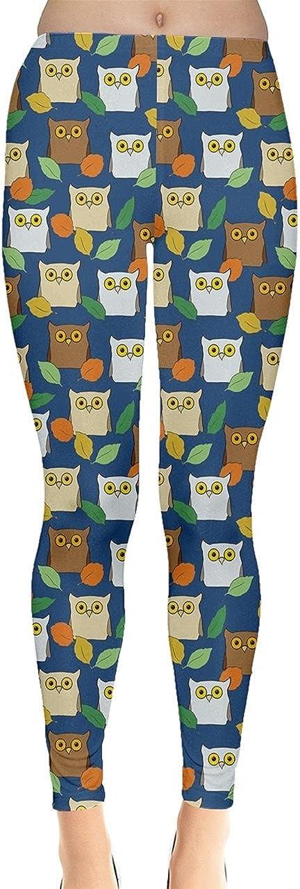 CowCow Womens Owls Birds Colorful Cartoons Drawing Leggings, XS-5XL