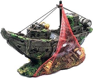 SODIAL Resina Acuario Ornamento Naufragio Artificial Hundido Barco Velero Destructor Decoracion del Tanque de Peces Acuario