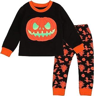 amropi Boys Halloween Pyjamas Set Pumpkin Long Sleeve Tops and Stripe Pants Costume Outfits Age 2-8 Years