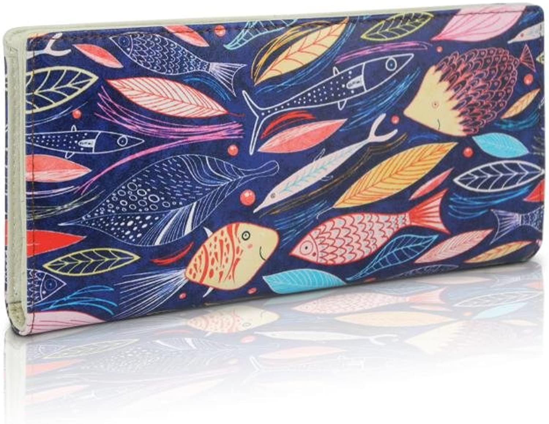 DARLING'S Fish Artisan Fashion Design Genuine Leather Bifold Wallet