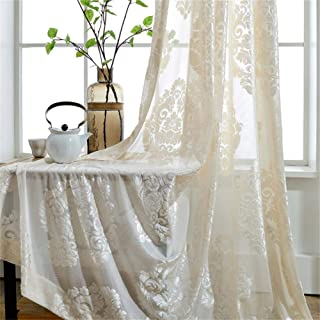 WPKIRA Rod Pocket Top European Style Thicken Flocking Fabric Privacy Lace Sheer Curtain Panels Half-shading Screens Window Curtain Drapes Room Divider For Living Room 1 Panel , White/Cream