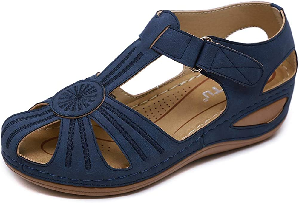 Meeshine Women's Comfortable Sandals Bohemia Flip-Flop Ankle Strap Hollow Round Toe Wedge Sandals Soft Sole Casual Gladiator Outdoor Shoes