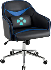 Giantex Mid-Back Armchair, Adjustable Height PU Leather Gaming Chair w/Massage Lumbar Pillow, Rolling Swivel Desk Chairs for Office Home Game Room (Blue & Black)
