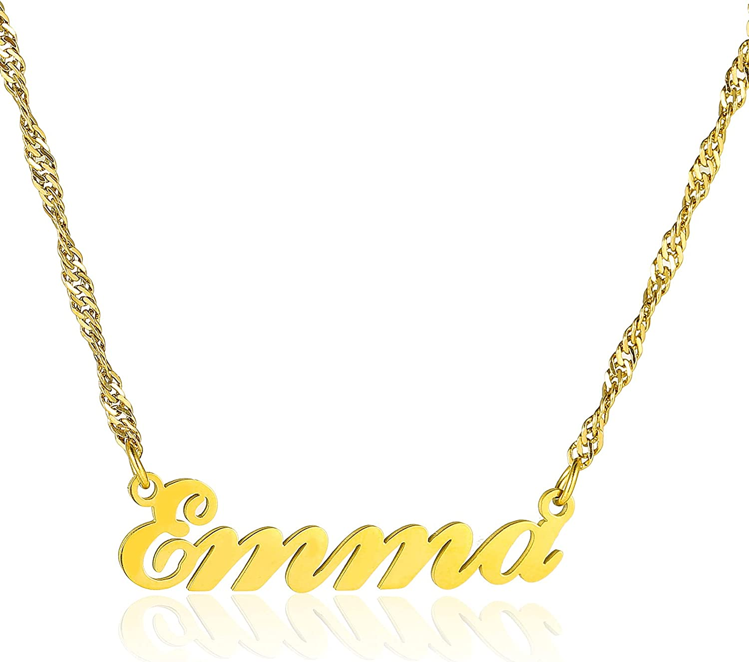 Beunique Custom Name Necklace for Women Christmas Gift Personalized Necklace with Name Customized Nameplate Pendant Necklace with Paperclip Chain Chain Jewelry