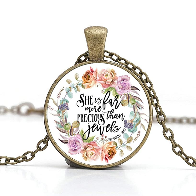BUENAVO Bible Verse Pendant Necklace Glass Cabochon Pendant Inspired Necklace Handmade with 24 inches Chain Antique Bronze Finish, She is Far More Precious Than Jewels