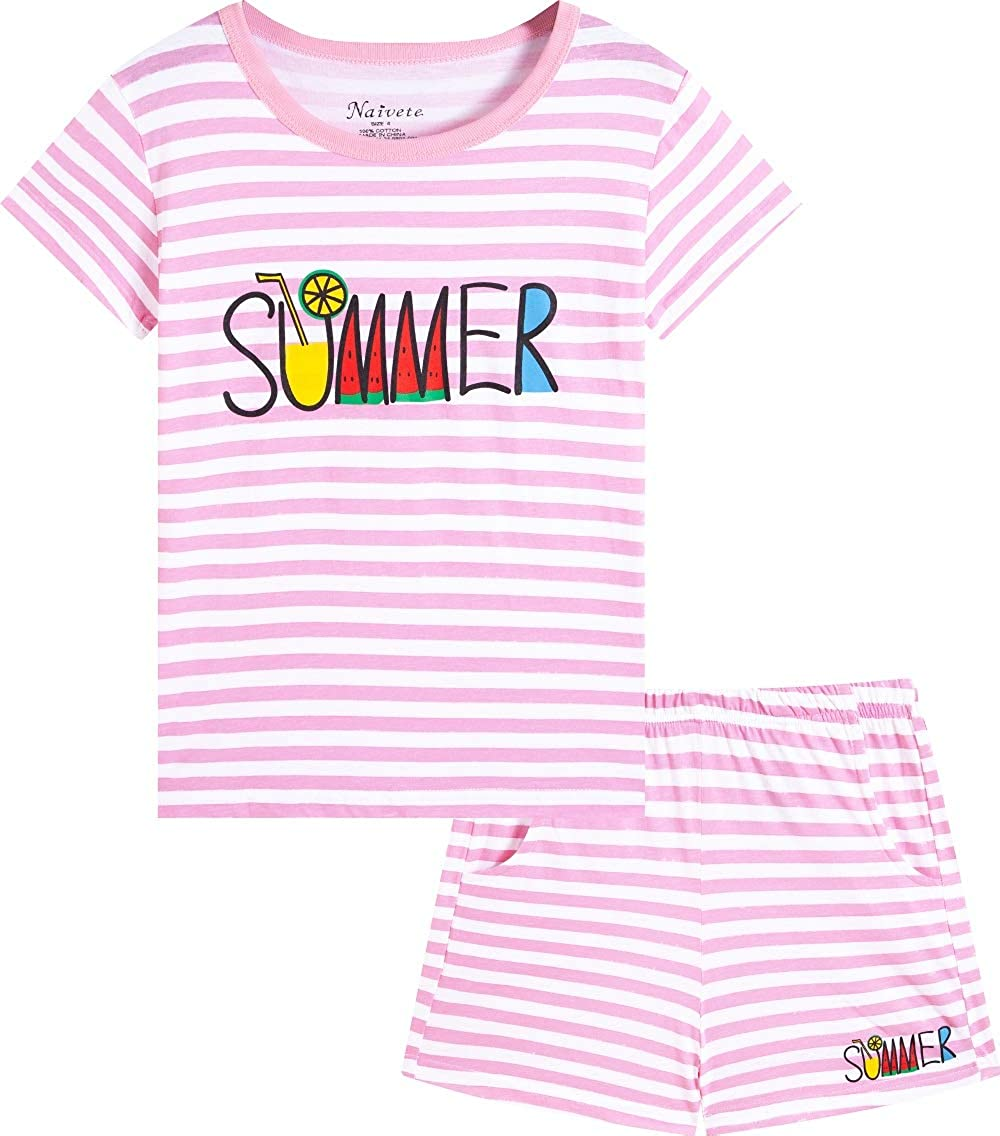 Naivete Girl Unicorn Clothing Pink Cotton Summer Clothes Kids Cute Toddler Short Clothes