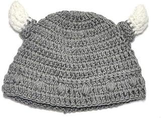LjzlSxMF Babies Bull Horn Beanie Handmade Knitting Viking Hat Ox Horn Cap for Boys Girls Gray