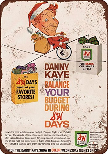 1965 Danny Kaye for S&H green vintage stamps look reproduction Metal Tin Sign 8 x 12 inches
