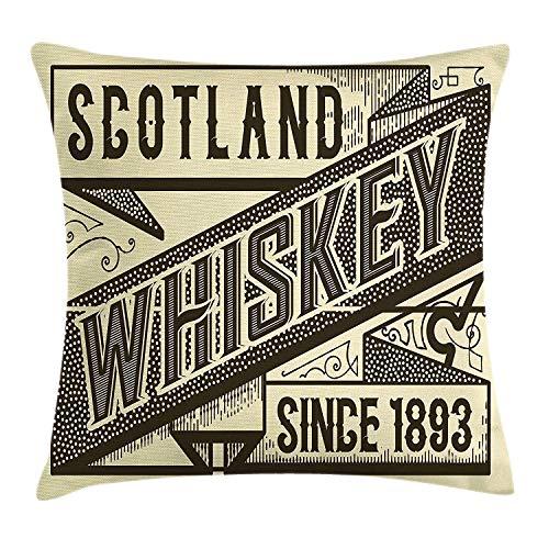 Pads bag Funda de cojín con diseño de Silbato de Whisky, diseño de Escocia, Color Marfil, 45 cm