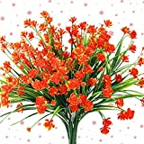 Artificial Flowers Outdoor Outside UV Resistant Fake WindowBox Pot Plants Red Orange