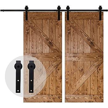 213CM/7FT Puerta de granero corredera estilo rústico puerta de granero corredera de madera para armario puerta granero herraje colgadocon guía rodamientos deslizantes, para puerta doble: Amazon.es: Bricolaje y herramientas