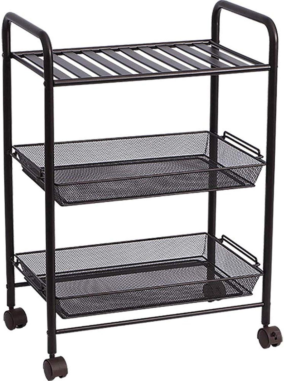 Kitchen Cart Service Cart Movable Rack, Kitchen Storage Rack, 3-Layer Multi-Function, Black