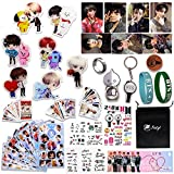 Fatyi BTS Gift Set, Badge Set, Stickers, Keychain, BTS Ring, Lomo Card, Phone Stand,Wristband, Banner, Seal