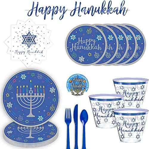Large Hanukkah Party Supplies Pack With Decoration for 30 Guests With Menorah 36 Dinner Plates, 36 Happy Hanukkah Dessert Plates, 30 Cups, 36 Napkins, Happy Hanukkah Banner, Blue Cutlery and Exclusive Happy Hanukkah Pin By Another Dream!