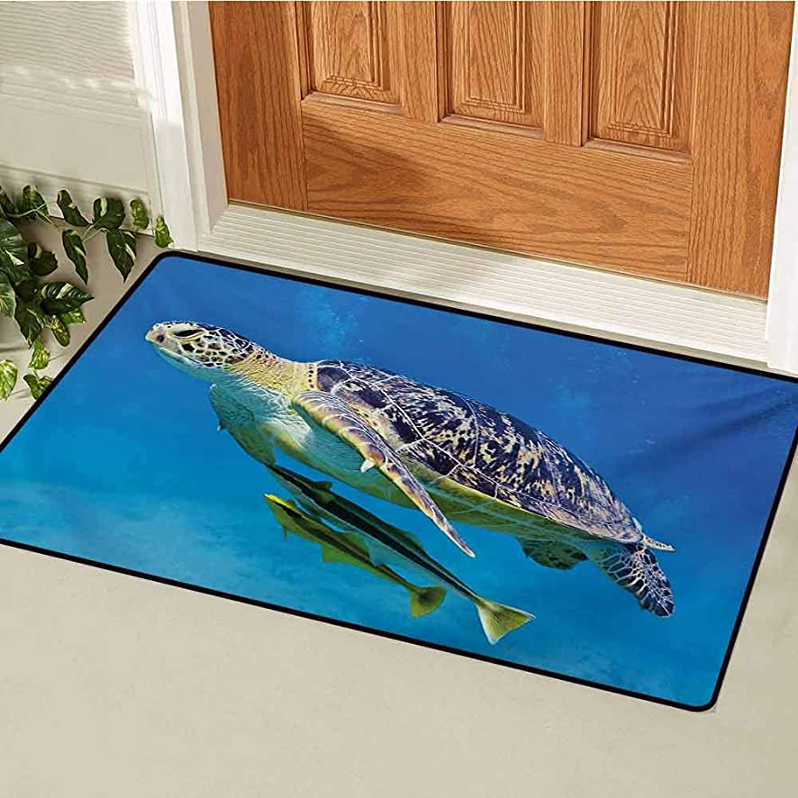 GUUVOR Turtle Universal Door mat Cute Angry Looking Sea Turtle Swimming with Remora Fishes Fauna Under The Sea Door mat Floor Decoration W15.7 x L23.6 Inch Blue Yellow Brown