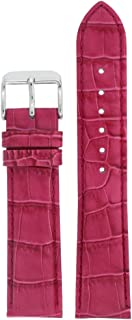Watch Band Crocodile Grain Hot Pink Padded Leather Strap 12 Millimeter