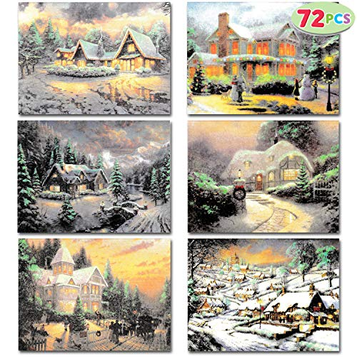 72 Snowy Town Greeting Cards Greeting Cards Christmas Cards Assortment with Envelopes for Holiday season, Xmas Gifts Cards bulk