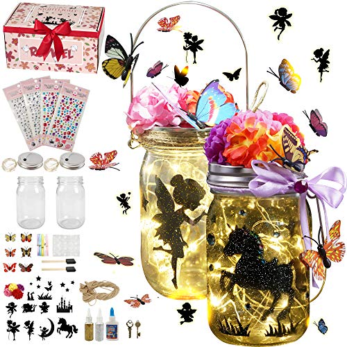 Roywel Fairy Lantern Craft Kit for Kids / Night Light / Crafts - Children Toy Set Kits - DIY Make Your Own Fairy Lantern Jar (Fairy Lantern 2 Pack)