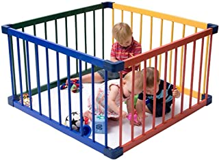 XHJYWL Playpen Multicolor Baby Wood Frame for Toddler  amp  Pet  4-Panel Crawl Play Area Children s Play Fence  Easy Assembly  Size 160x160x61cm