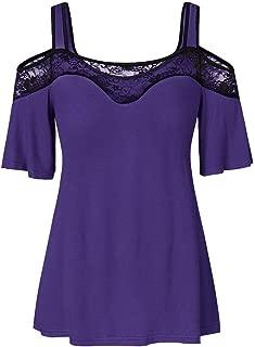 Women Plus Size Short Sleeve Soild Lace Patchwork Off Shoulder Casual Tunic Blouse