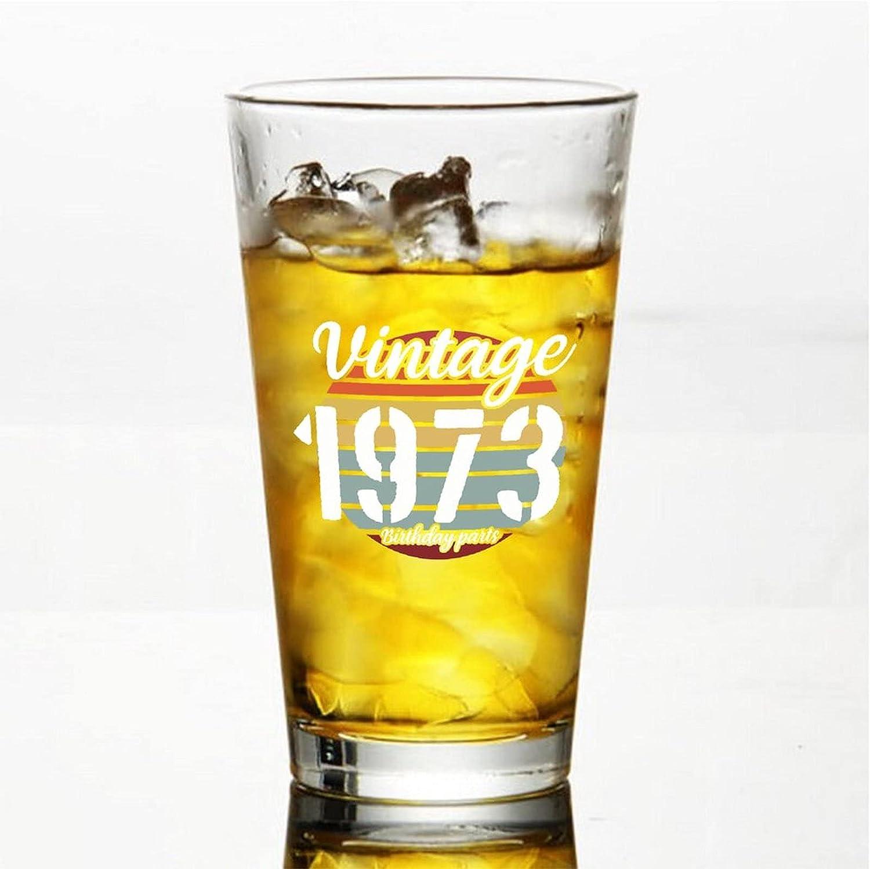 Vintage 1973 - Vasos de cerveza personalizados, 16 onzas para regalo de crismas,Día de Acción de Gracias, papá, mamá, marido, esposa, padrino.