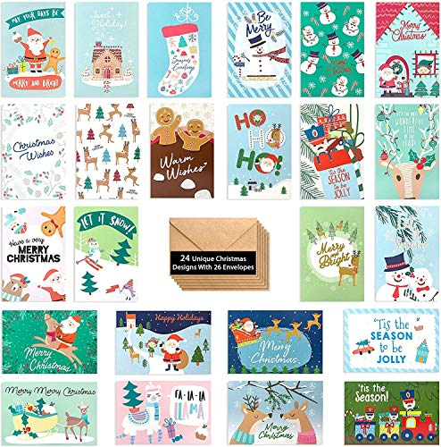 24 Cute Christmas Cards Assorted - Joyful Christmas Greeting Cards in 24 Unique Designs- Merry Christmas Greetings- Family Christmas Cards- Bulk Assorted Christmas Cards with Envelopes, 4 x 6 Inches