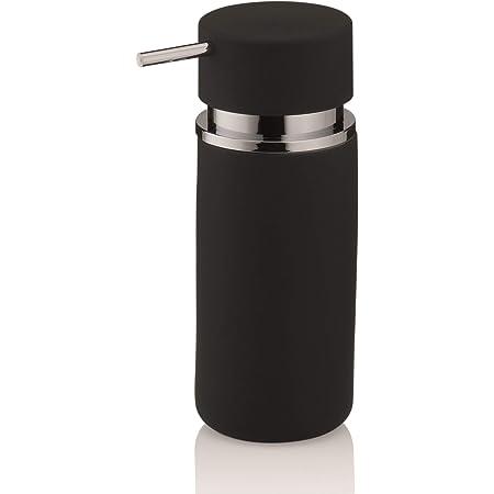 Kela 20421 Distributeur de Savon Liquide Céramique/Caoutchouc Noir 300 ml