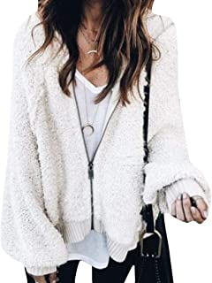 Women Cardigan Lantern Sleeve Loose Zip Up Sweater Top