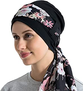 JarseHera Chemo Caps for Women Bamboo Cotton Liner Headwear with Silky Scarfs for Cancer Hair Loss Sleep Caps Beanie