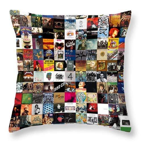 Lplpol Greatest Rock Albums of All Time - Funda de cojín cuadrada de lino y algodón, 45,7 x 45,7 cm