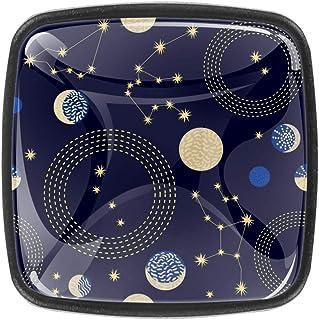 Zodiac Sky Constellations Crescent Moon and Circles - Tiradores de cristal para armario cajones con tornillos para pecho...