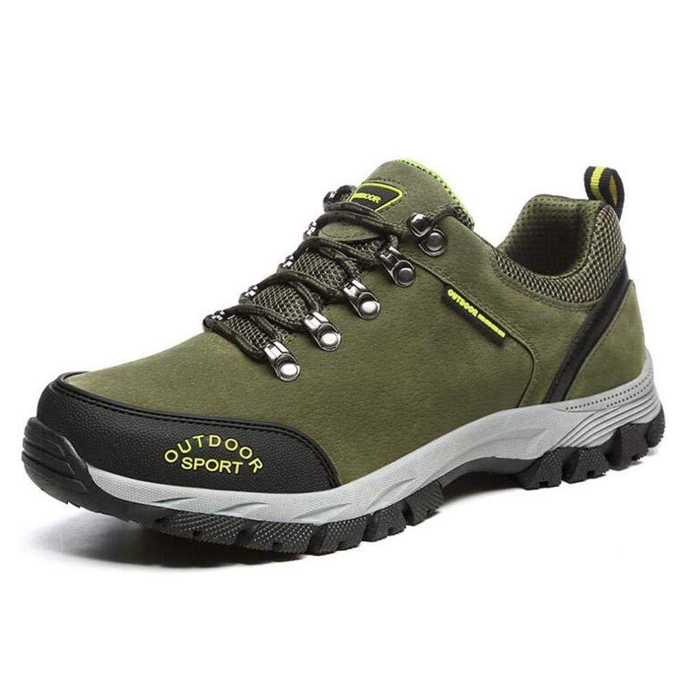 Calzado de Excursionismo para Hombre, Zapatos de Trekking con Cordones Exteriores de Cuero de Otoño Invierno, Suela de Goma, Botas de Herramientas Calzado de Ciclismo Zapatillas para Correr,Verde,46: Amazon.es: Deportes y aire