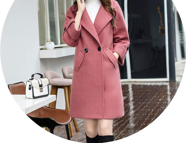 Woolens Overcoat Long Winter Coat Double Breasted Coats Slim Coat Women Casaco pink Ropa