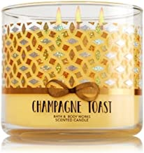 Bath and Body Works 3 Wick Candle 2016 Edition Champagne Toast Gold with Bowtie