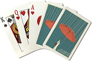 Olympia, Washington - Umbrella - Letterpress (Playing Card Deck - 52 Card Poker Size with Jokers)