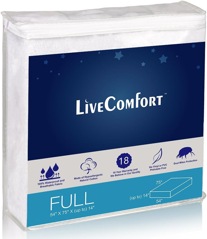 LiveComfort Mattress Predectors, Full Waterproof Mattress Predector, Vinyl-Free Hypoallergenic Mattress Predector with Dust Mite Predection (80% Cotton and 20% Polyester Fiber)