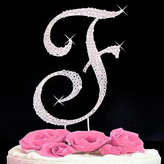 Letter F - Swarovski Crystal Monogram Wedding Cake Topper Letter