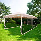 Quictent Ez Pop up Canopy Screened with Netting Instant Screen House Room Tent Mesh Side Walls (Tan, 10 x 20 ft)