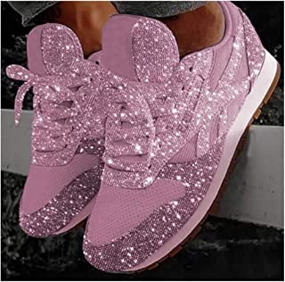 Women Lace Up Sneakers Glitter Autumn Flat Vulcanized Shoes Ladies Bling Casual Fashion Platform Loafers 2020 Casual Sneakers,Pink,39