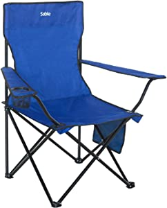Sable Outdoors Fishing Chair, Portable Folding Camping Chair with Cup Holder, Storage Bag and Skid-Proof Mud Feet for Fishing, Hiking, and Picnic