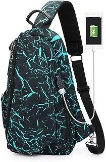 Men's Casual Chest Bag, Large Capacity Black Outdoor Shoulder Bag, USB Charging Socket Messenger Bag,Green