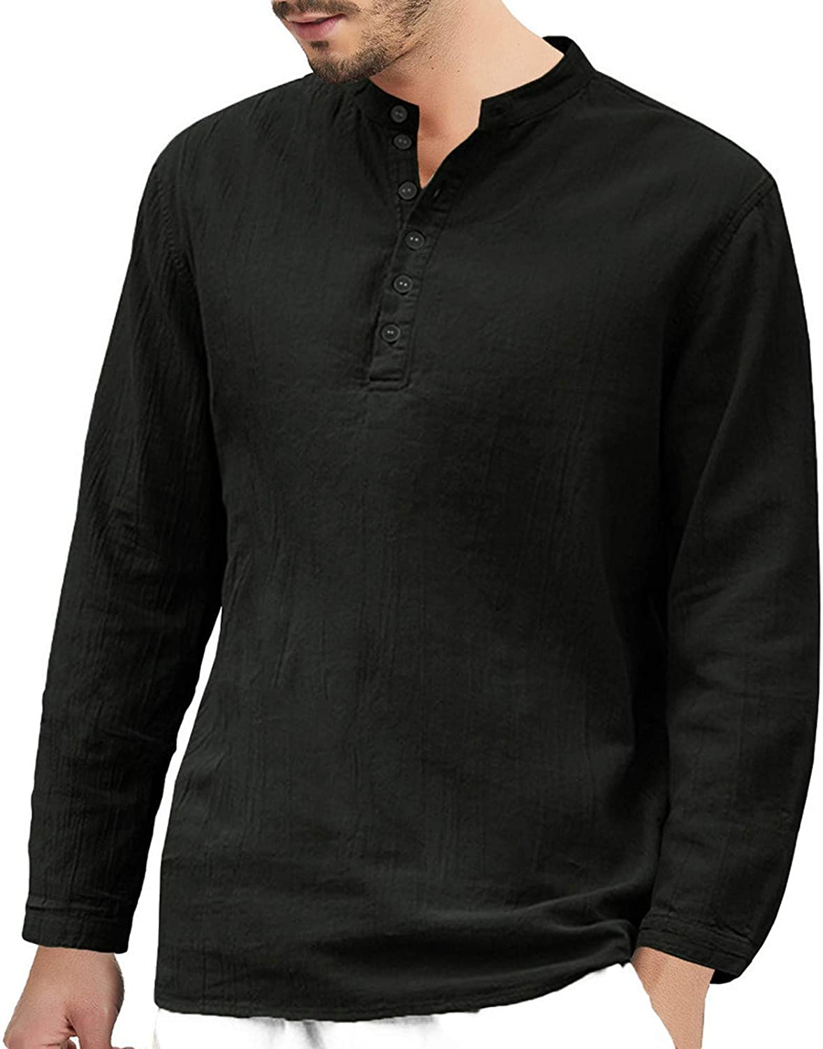 Maryia Men's Henley Shirts Casual Button-Down Up Shirts Long Sleeve Beach Yoga Loose Retro Fit Tops Blouse Black