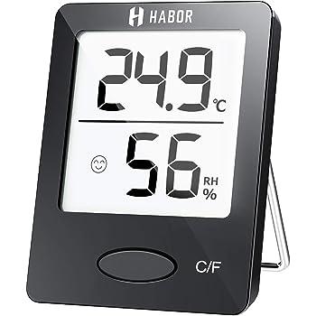 Habor Thermo-Hygrometer, Luftfeuchtigkeitsmessgerät Innen Digitales Thermometer Hygrometer Innen Hydrometer Feuchtigkeit Digital mit Hohen Genauigkeit, Geeignet für Babyraum, Wohnzimmer, Büro Schwarz