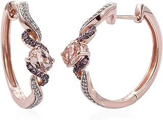 Hoops Hoop Earrings 925 Sterling Silver Vermeil Rose Gold AA Premium Morganite Zircon Jewelry for Women Ct 1.8