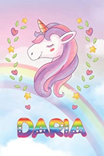 Daria: Daria Unicorn Notebook Rainbow Journal 6x9 Personalized Customized Gift For Someones Surname Or First Name is Daria
