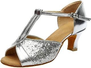 vermers Womens Buckle Strap Sandals Color Fashion Rumba Waltz Prom Ballroom Latin Salsa Dance Shoes Peep Toe Sandals