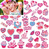 Qpout Temporary Tattoos, Cute Rabbits Valentines Day Temporary Tattoo Set for Kids Party Supplies