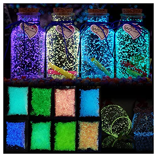 RNUYKE Luminous Sand Stones DIY Epoxy Star Wishing Bottle Starry Ornaments Filling Sand Painting Recycling Landscaping Luminous Wishing Bottle Fish Tank Gravel Sea Beach Decor (Blue)