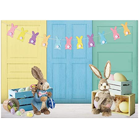 LB Easter Backdrop for Photography 6x9ft Colored Eggs Bunny Rabbit for Kids Photo Background Spring Flowers Decoration Studio Props Customized FHJ707