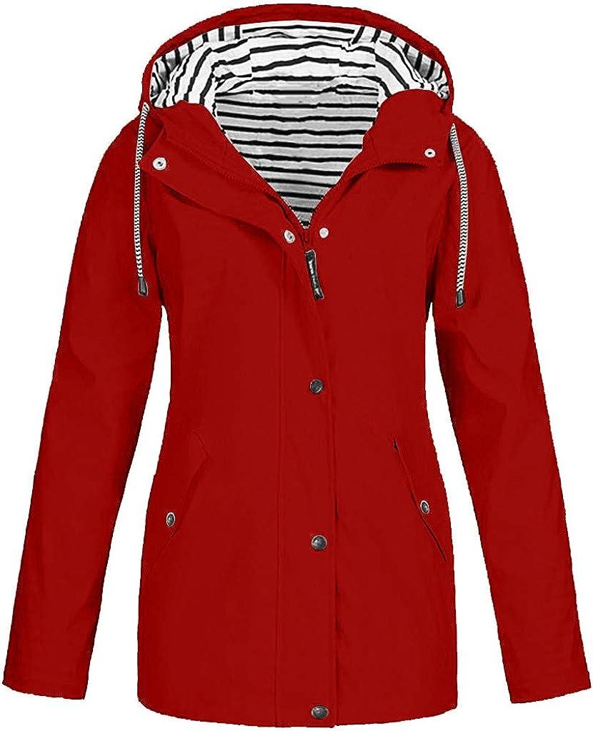 Women Winter Coats Rain Jacket Outdoor Solid Waterproof Hooded Raincoat Windproof Overcoats Plus Size